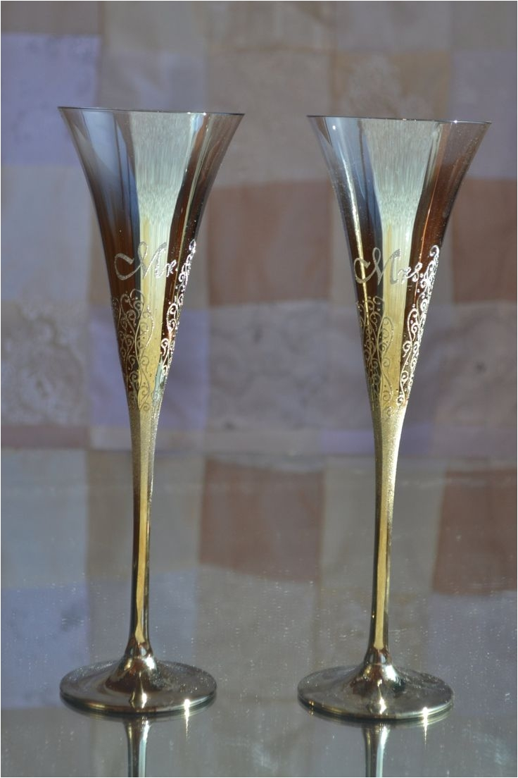 gold wedding glass handmade flutes wedding goblets anniversary glasses bride groom glass wedding flutes set mr and mrs glasses