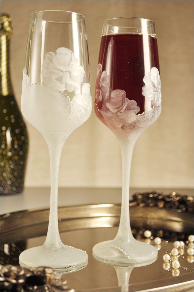 wedding glasses white rose champagne flutes by paintedglassbiliana