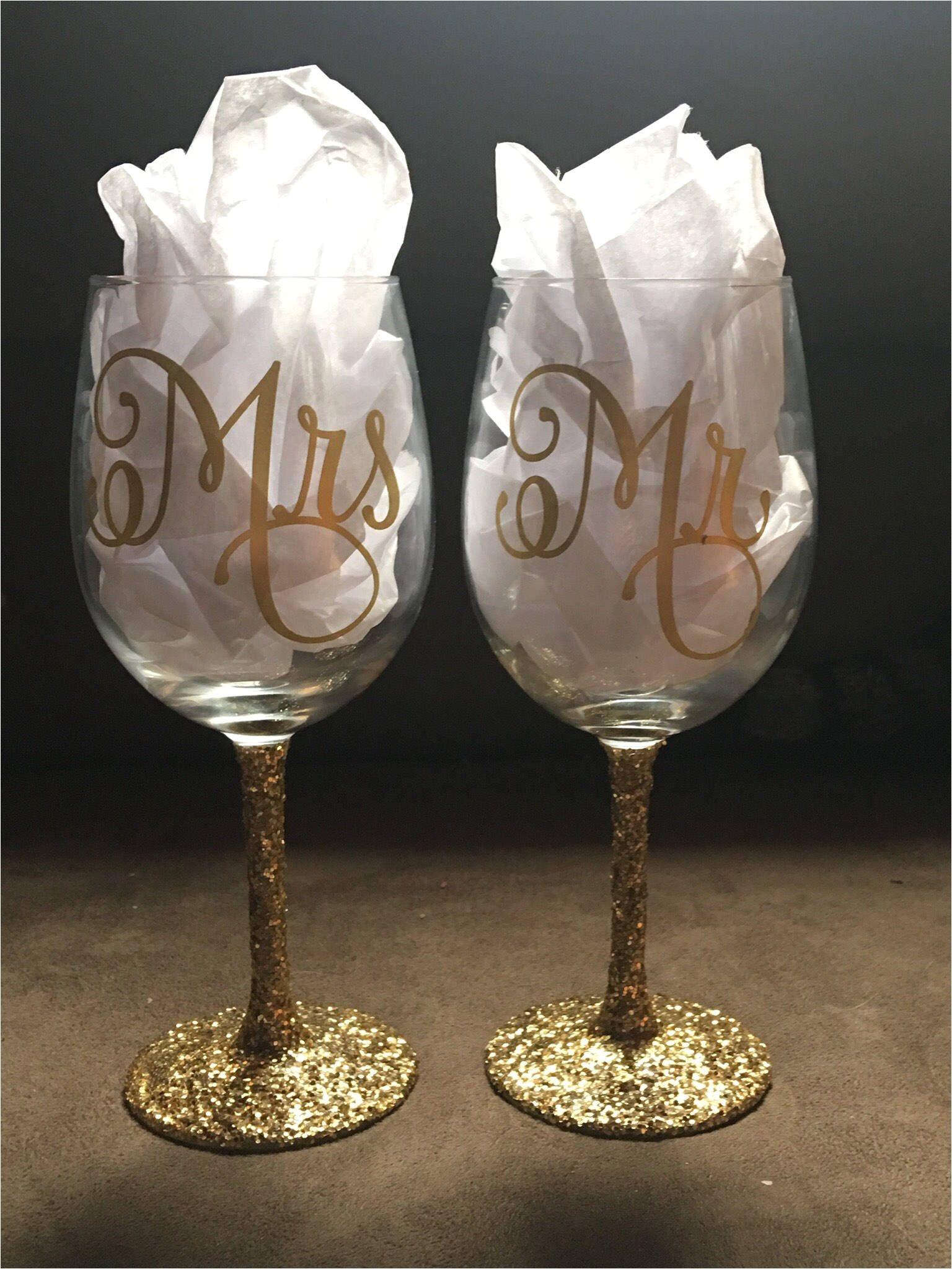 a personal favorite from my etsy shop https www etsy com listing 513907066 custom mr mrs wine glasses set glitter