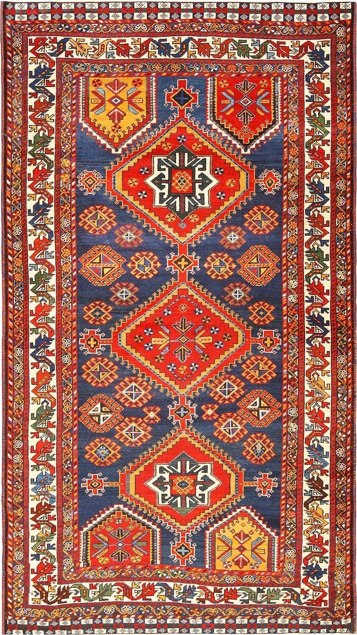 small antique tribal qashqai persian rug 49152