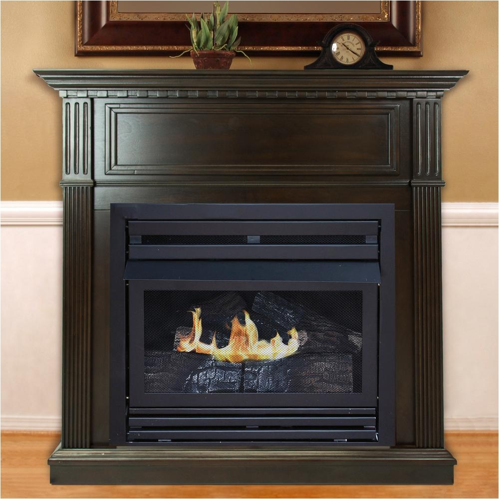 convertible ventless natural gas fireplace in tobacco