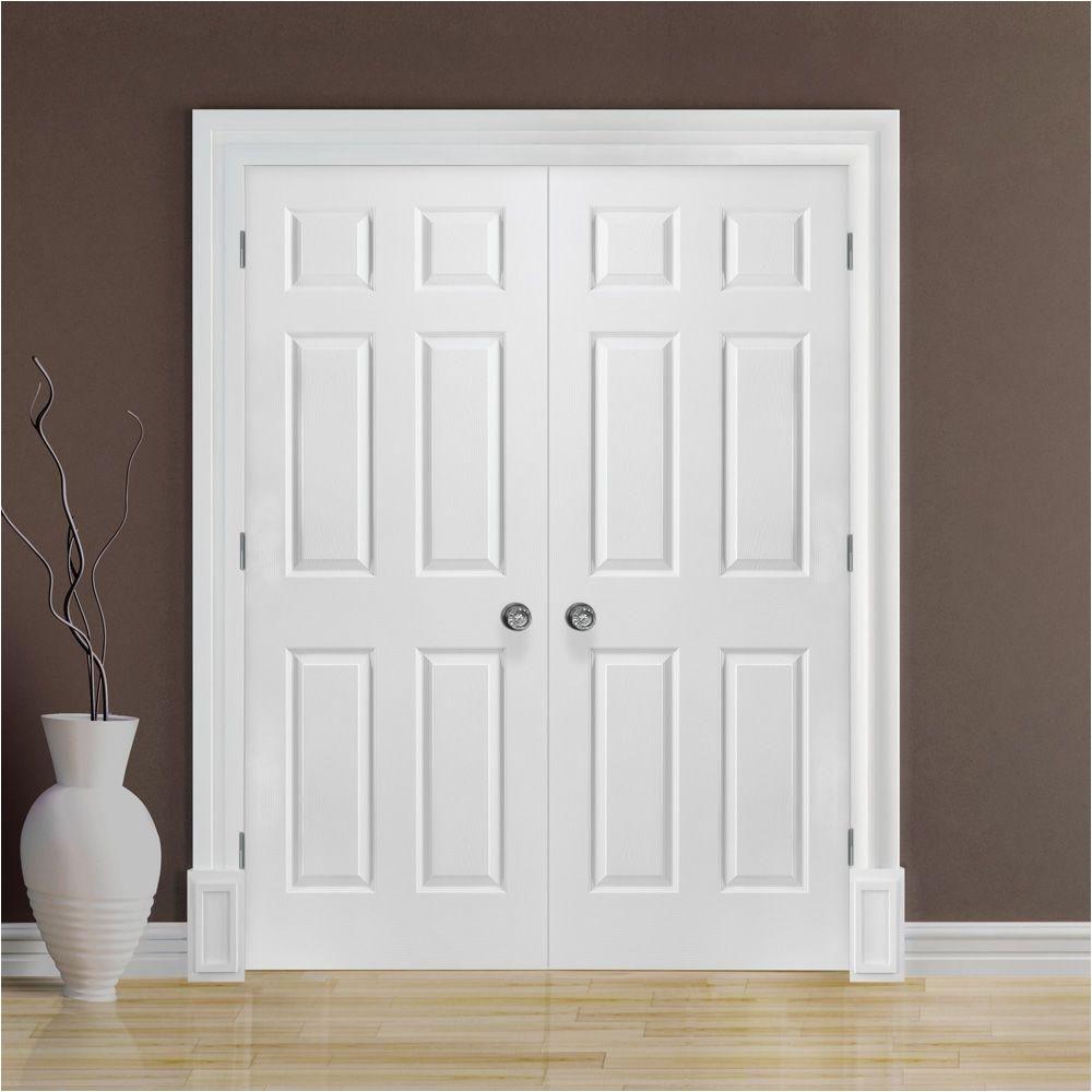 textured 6 panel hollow core primed composite double prehung interior door 37839 the home depot