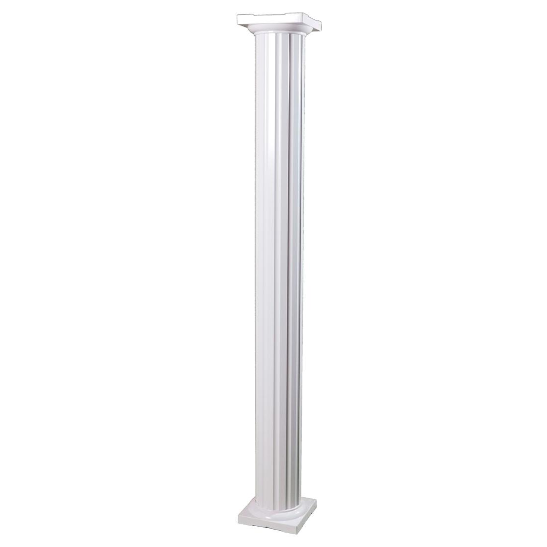 round fluted aluminum column standard cap base option