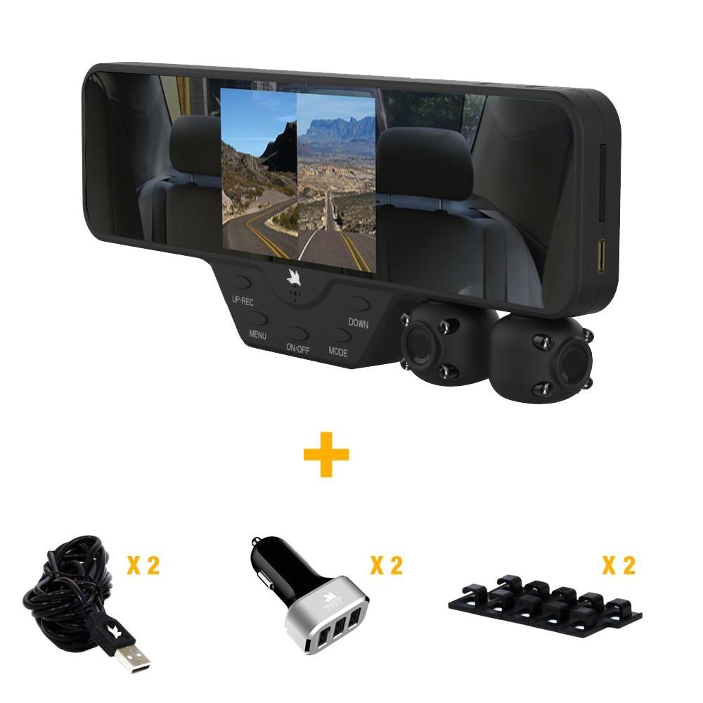 falcon zero f360 v1 dash cam bundle with two vehicle accessories
