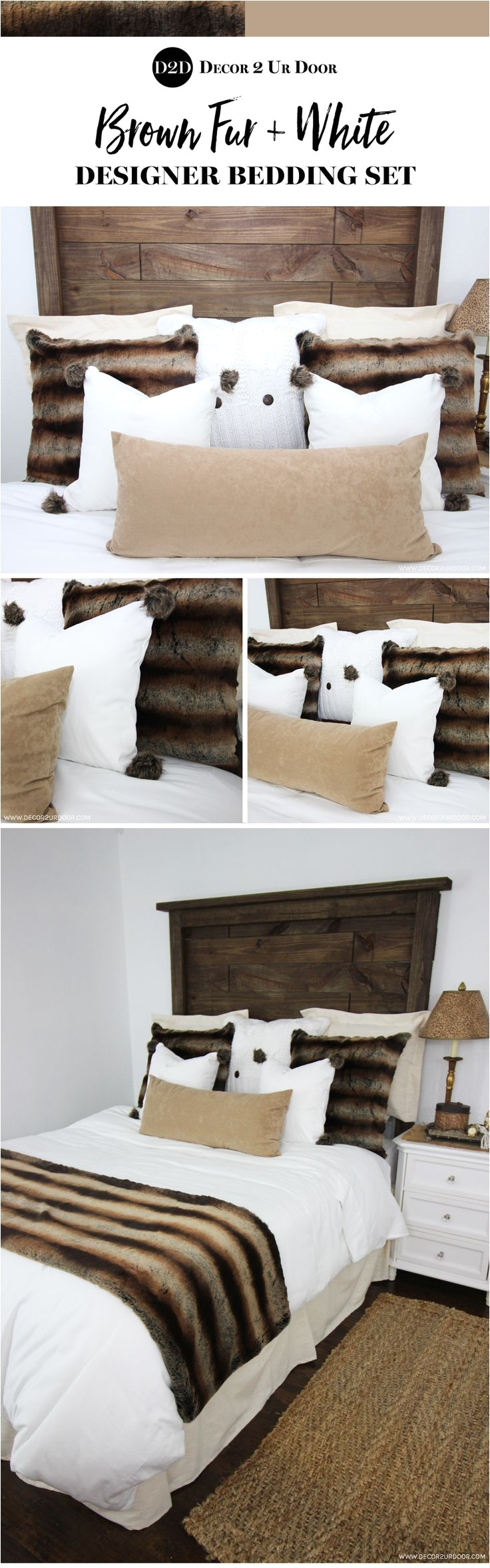brown fur white custom designer bedding collection