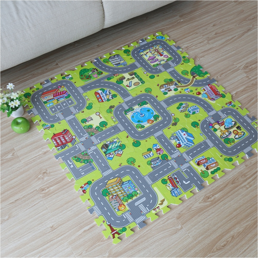 9pcs baby eva foam puzzle play floor mat toddler city road carpets interlocking tiles kids traffic