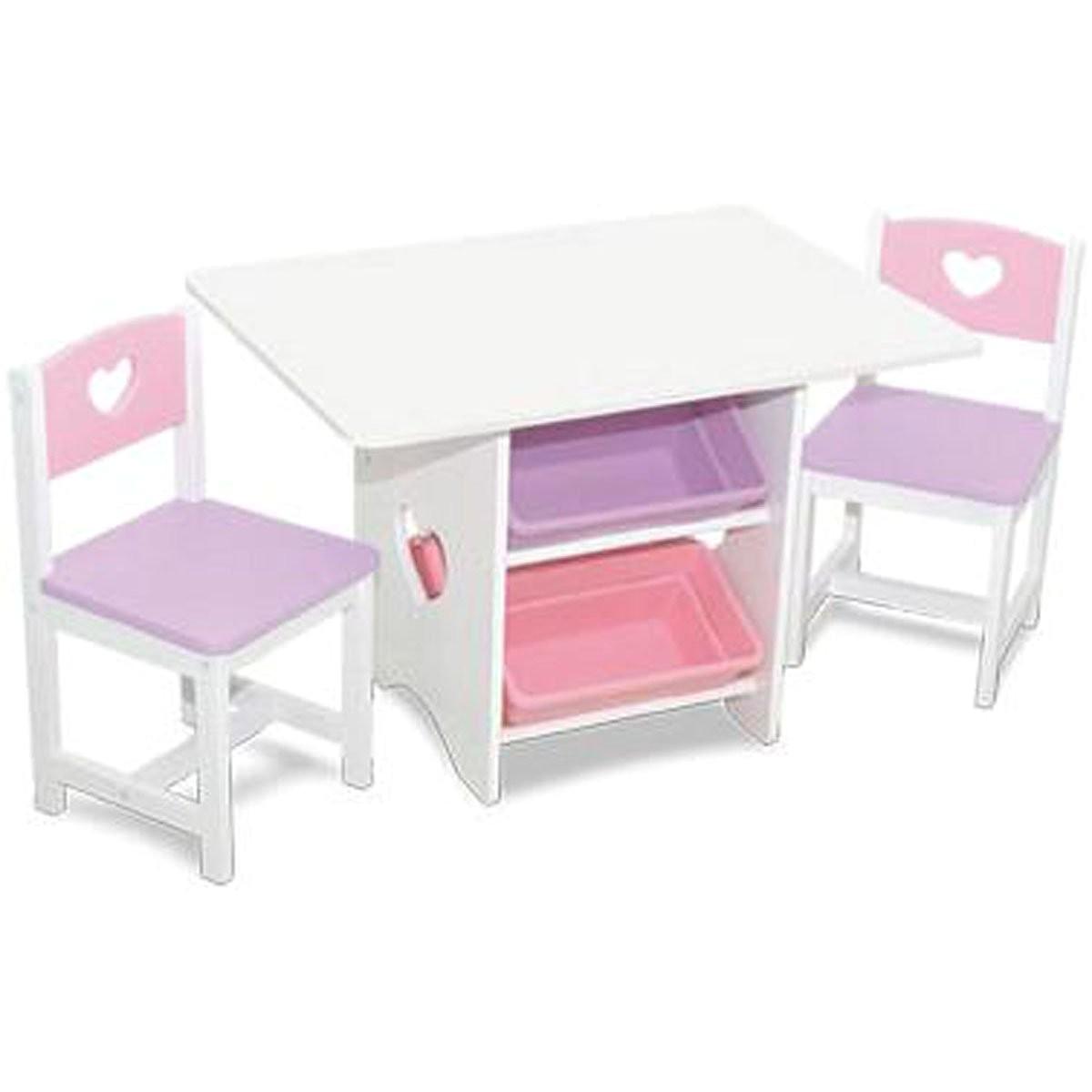 heart table chairs w storage bins