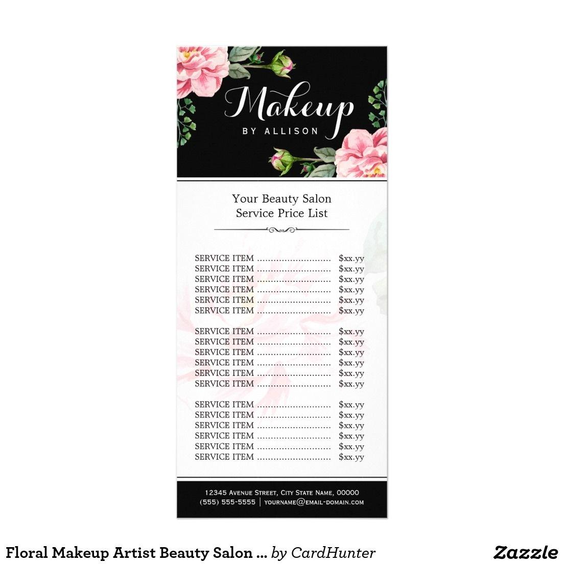 floral makeup artist beauty salon girly price list rack card