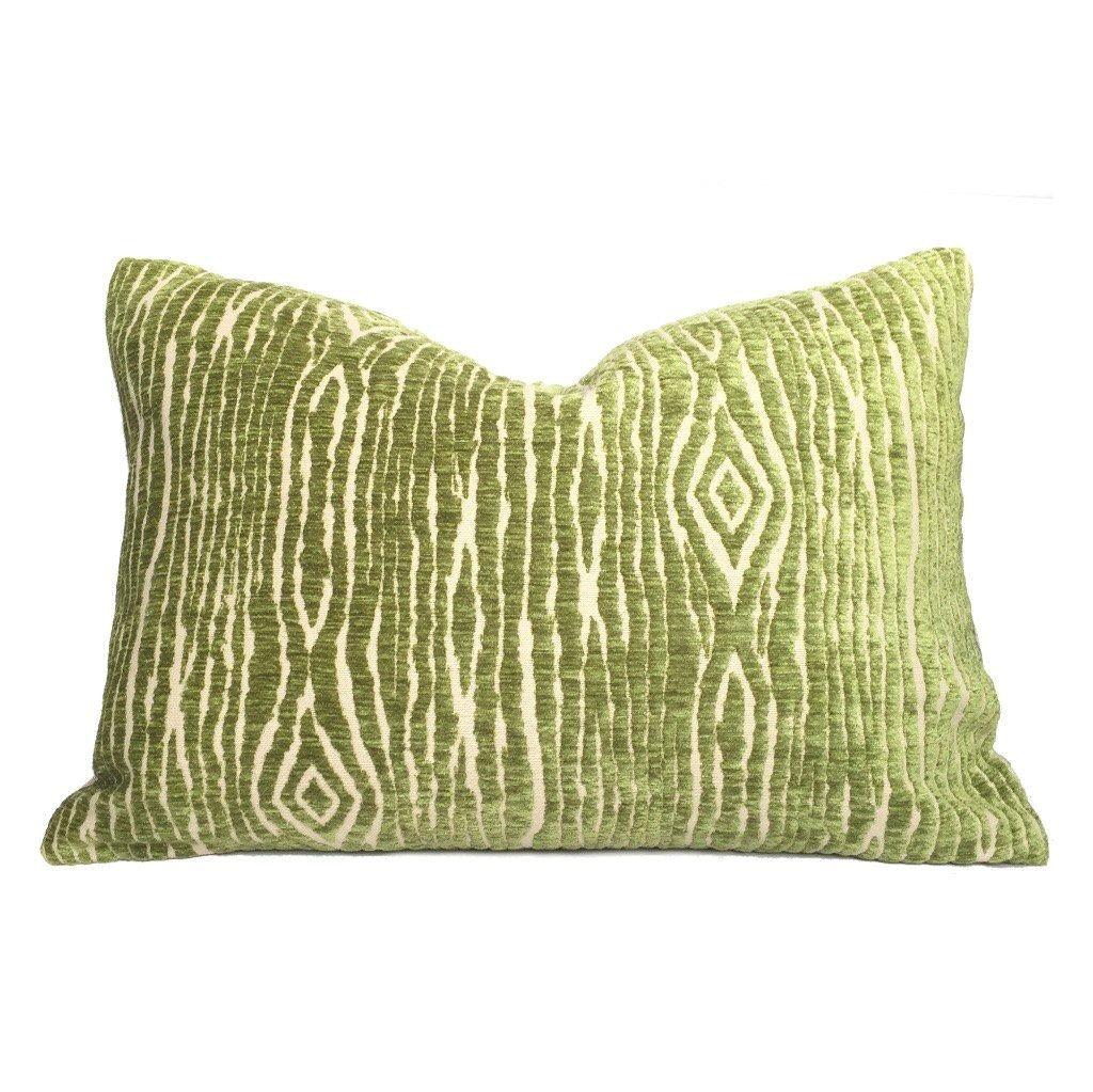 designer faux bois wood grain green beige velvet texture pillow cover fits 14x20 lumbar cushion