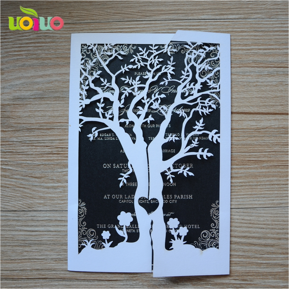 10sets lot hot sale laser cut love tree paper various color customizable wedding invitation cards