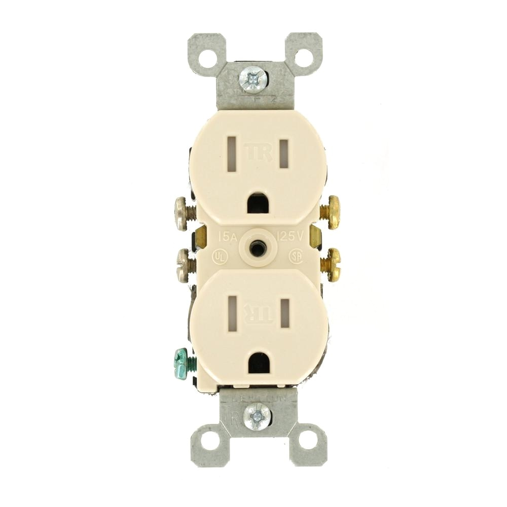 Leviton Floor Receptacles Leviton 15 Amp Tamper Resistant Duplex Outlet Light Almond R56