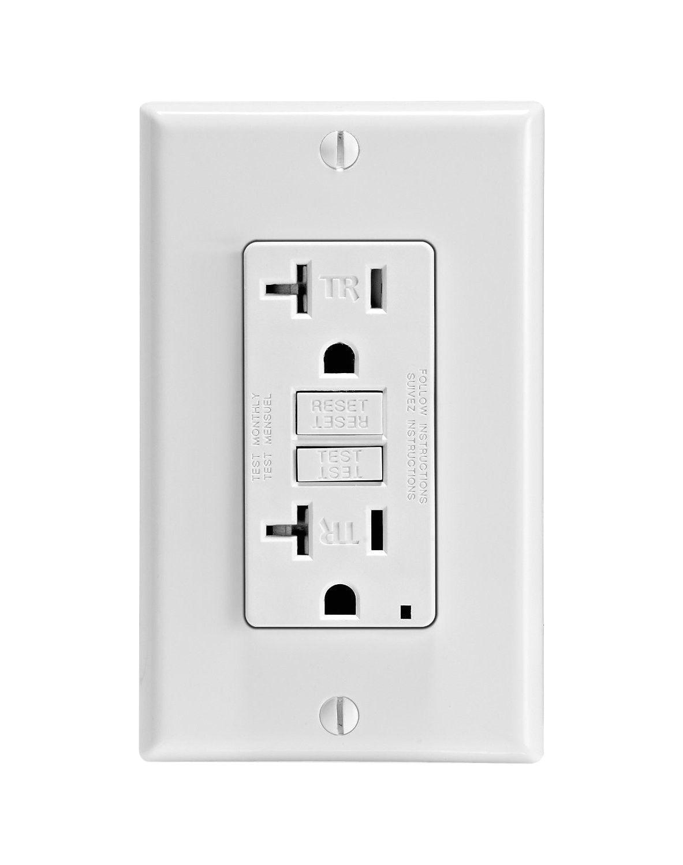 leviton gftr2 w gfci outlet 20a 125v smartlock pro slim tamper resistant nylon wall plate white