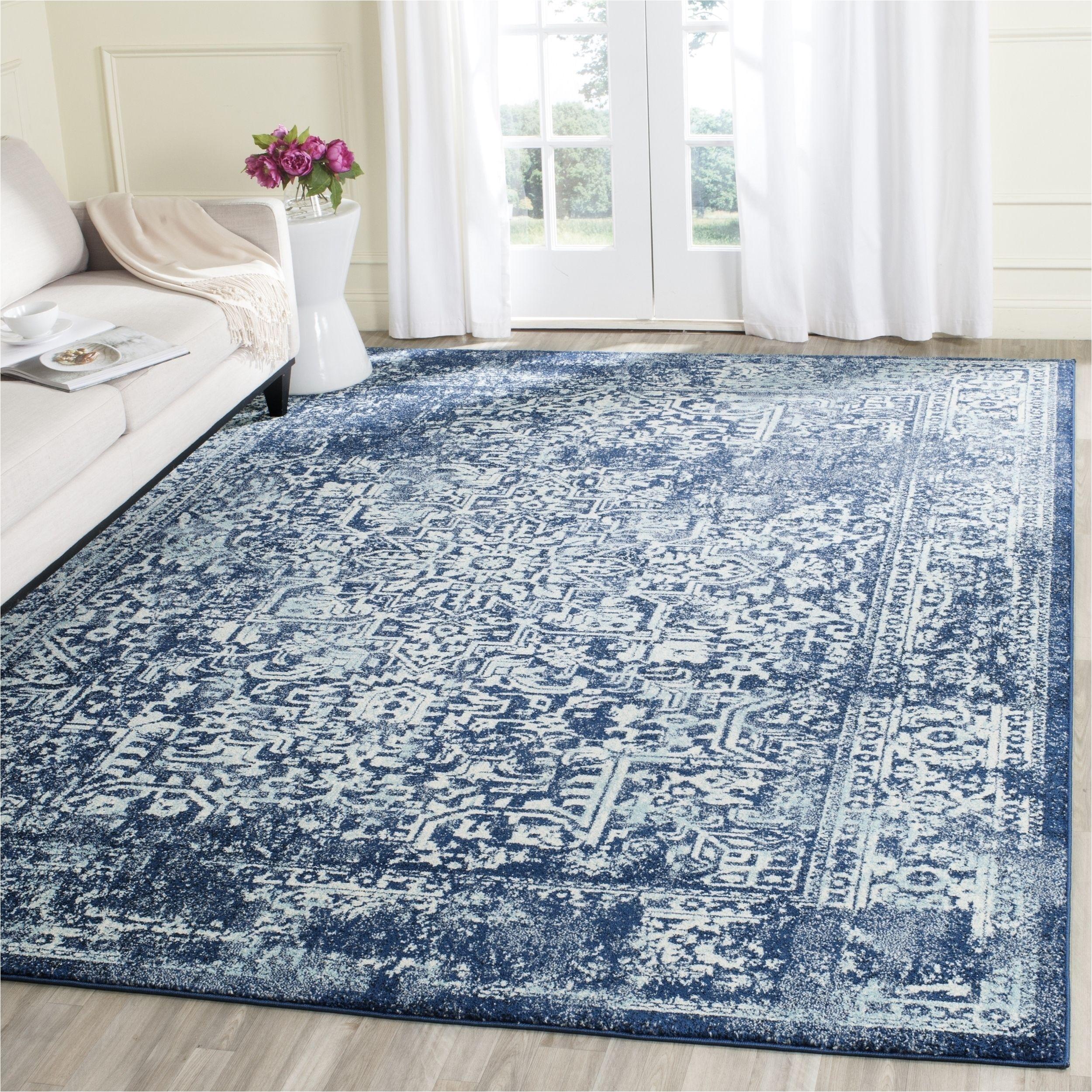 safavieh evoke vintage oriental navy ivory distressed rug 6 7 square evk256a 7sq blue polypropylene medallion