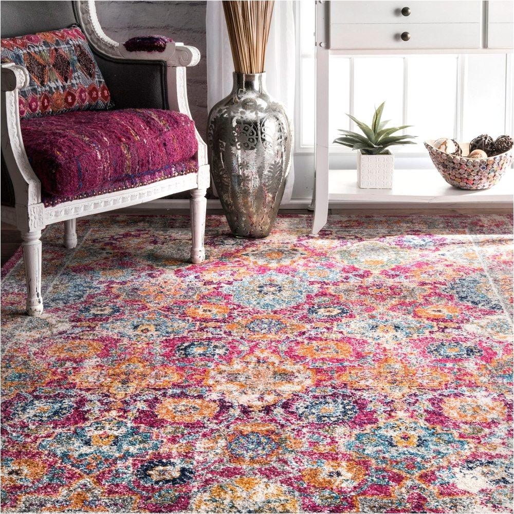 nuloom persian floral pink rug 5 x