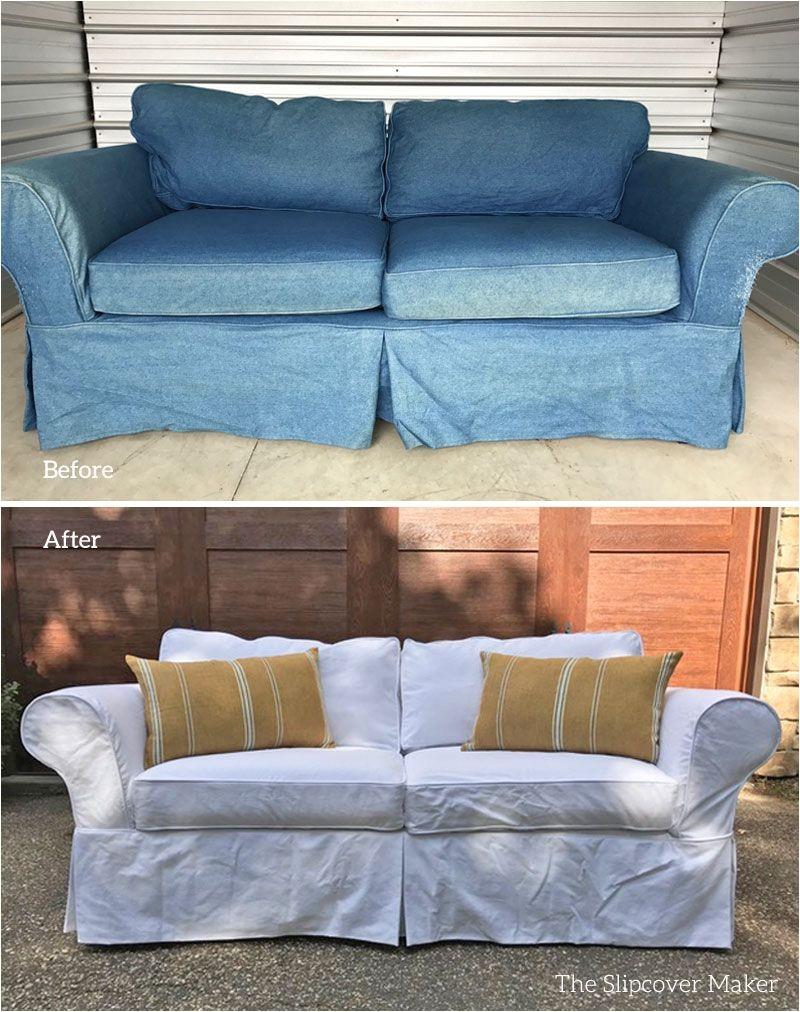 white heavy weight denim slipcover custom made for mitchell gold sofa farewell old indigo