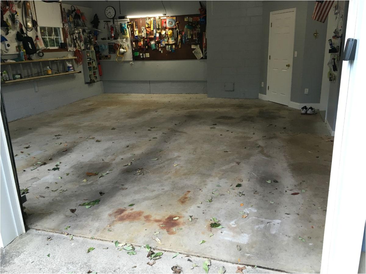 garage floor before epoxy