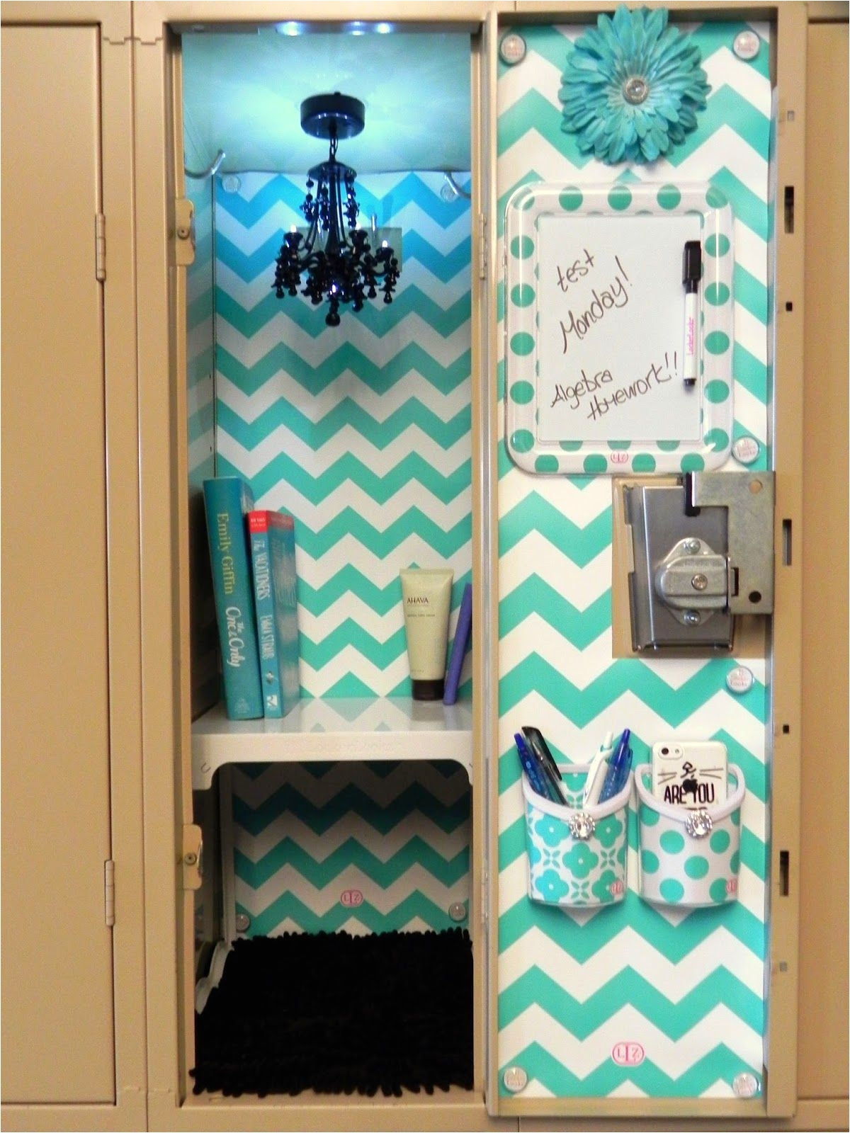image of blue diy locker decorations