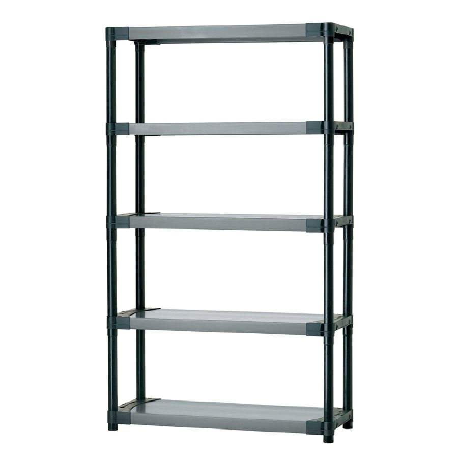 shop blue hawk 70 in h x 42 in w x 16 in d 5 tier plastic freestanding shelving unit at lowes com