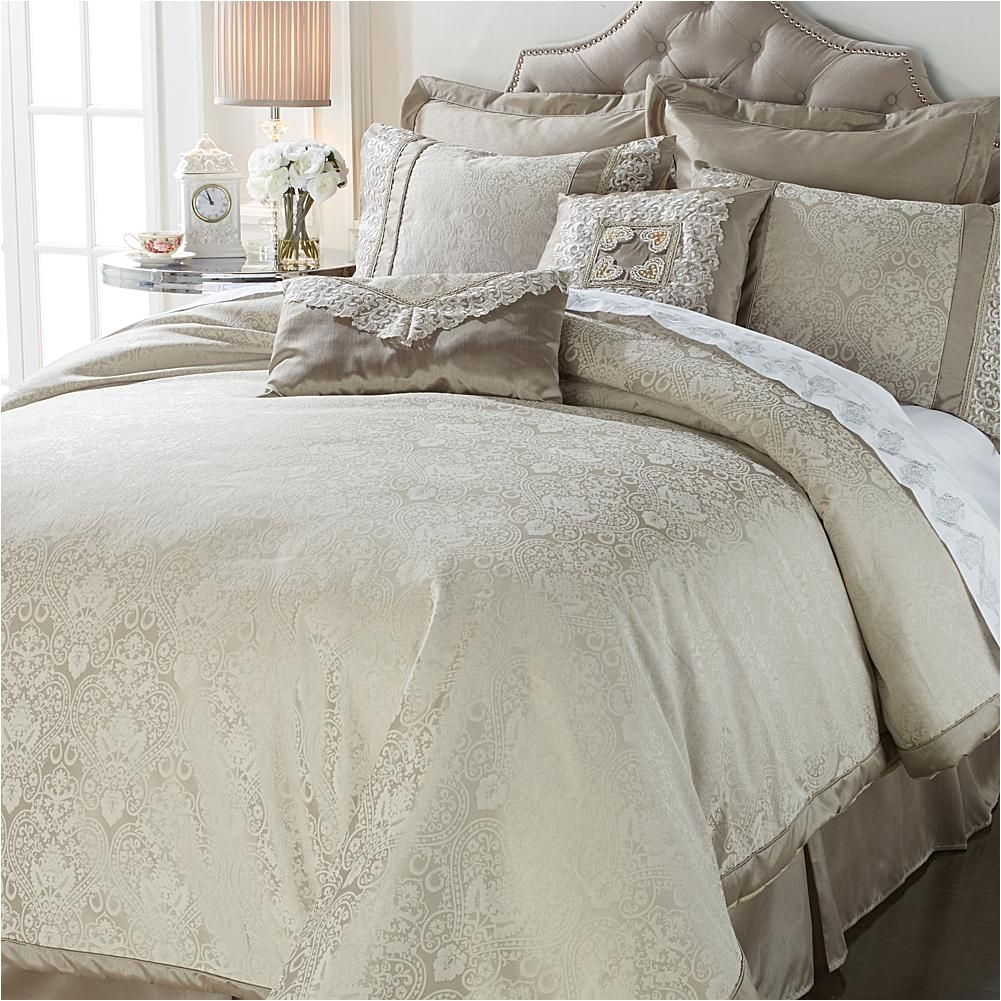 hutton wilkinson woven heart 8 piece comforter set ivory off white