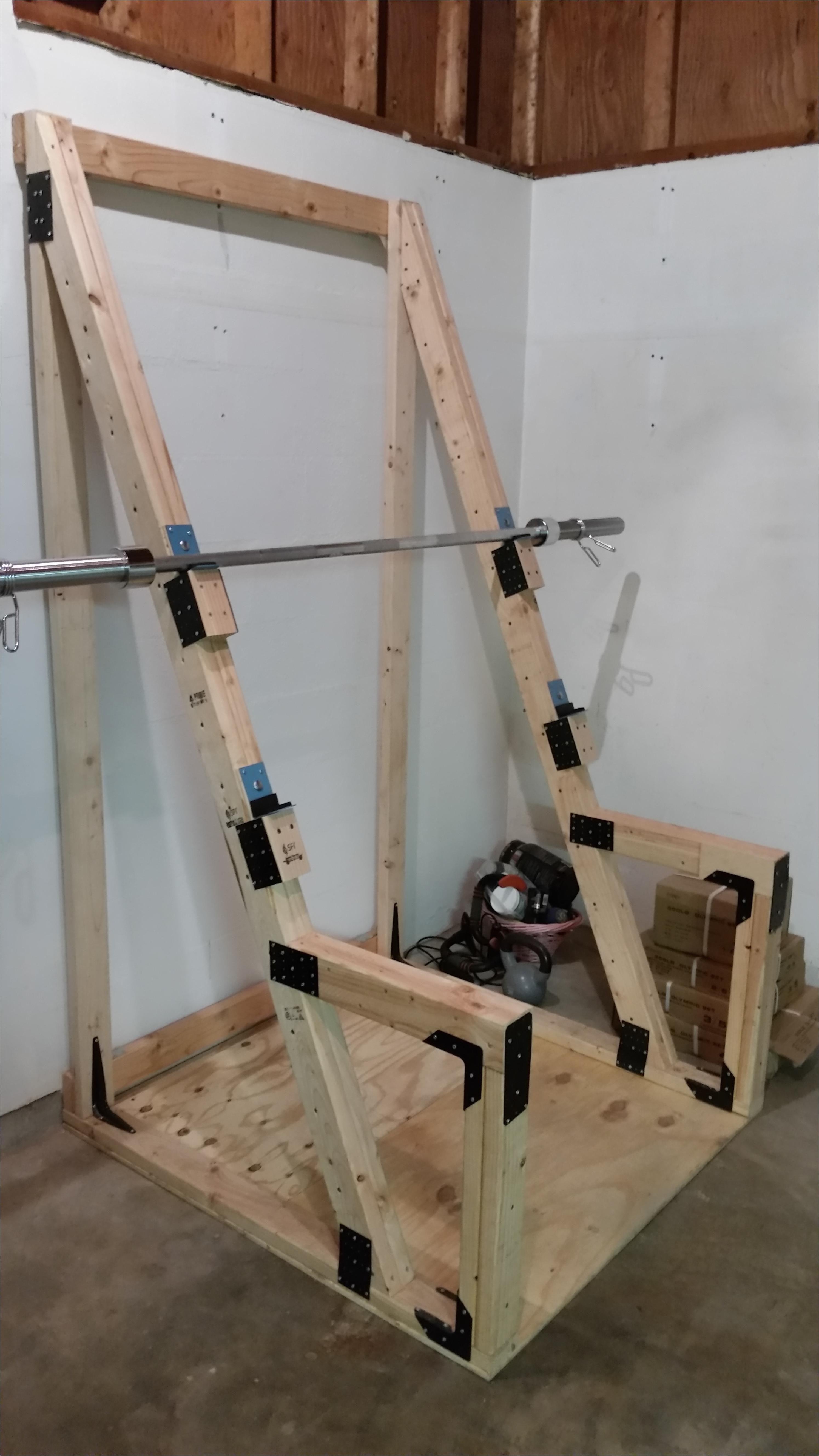 diy homemade squat bench rack