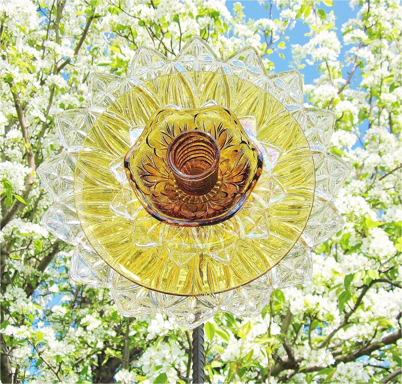 Making Garden Art From Old Dishes Flower Garden Art Glass Yard Stake