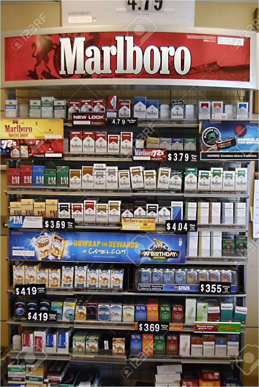 lewiston idaho state usa american cigarettte marlboro and other cigarettes brand on desk sale