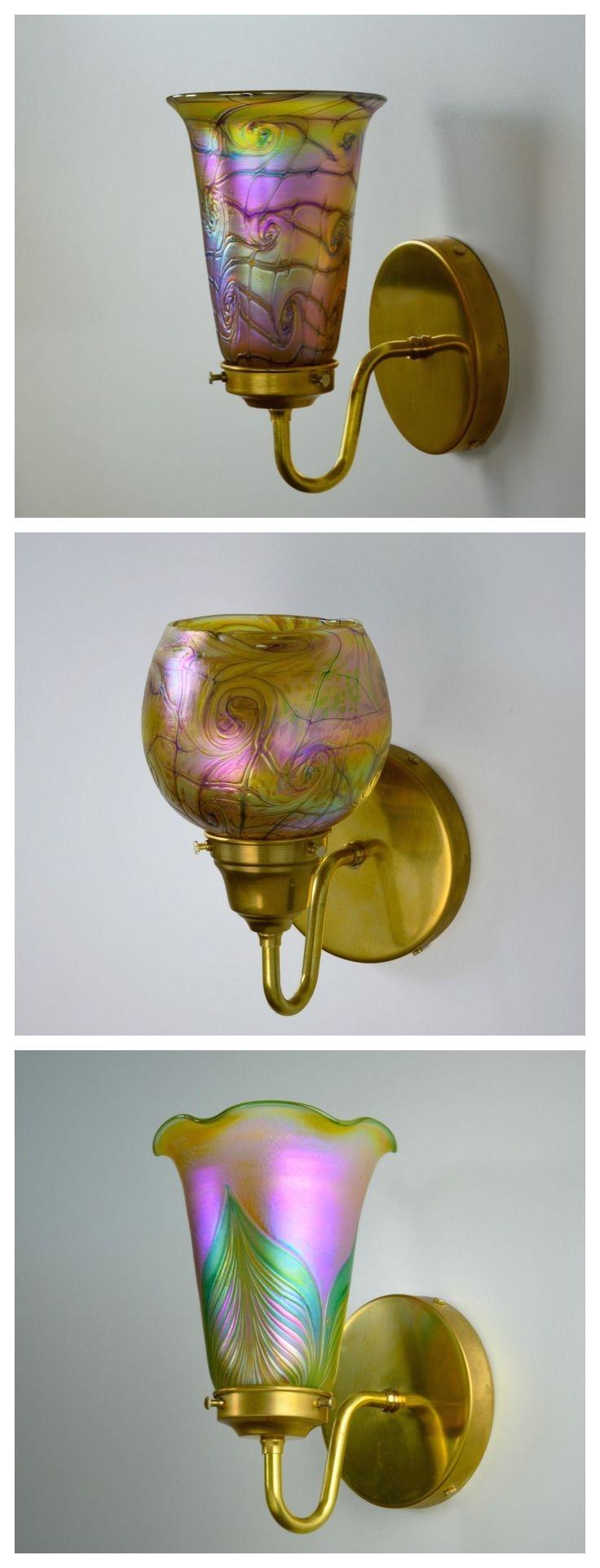 blown glass sconce lighting iridescent glass wall sconces art nouveau glass lamp art