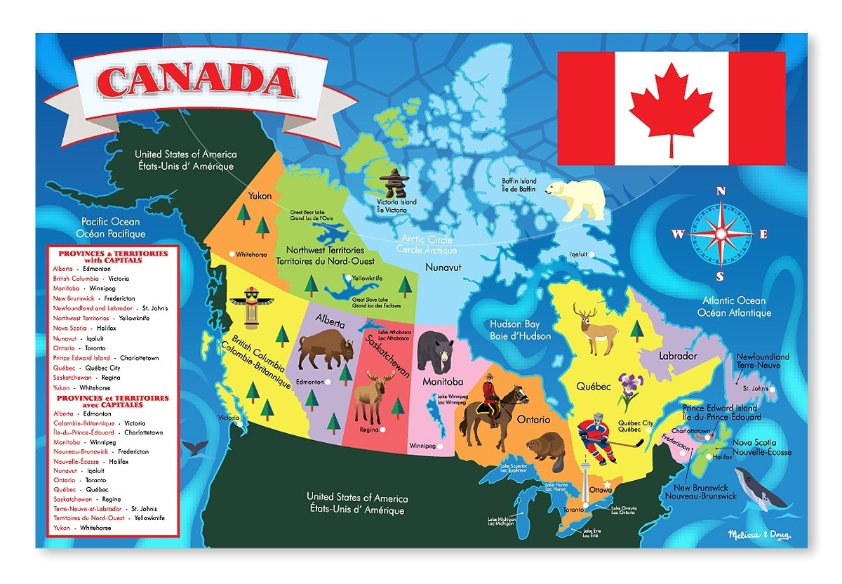 Melissa and Doug Floor Puzzles Canada Amazon Com Melissa Doug Canada Map Jumbo Jigsaw Floor Puzzle 48