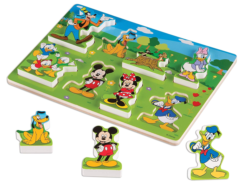 amazon com melissa doug disney mickey mouse clubhouse wooden chunky puzzle 8 pcs melissa doug toys games