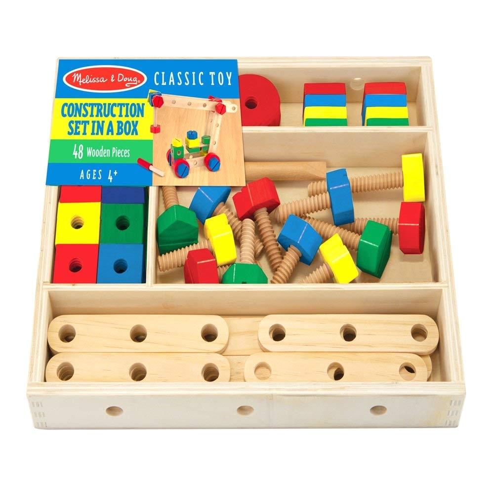amazon com melissa doug wooden construction building set in a box 48 pcs melissa doug toys games