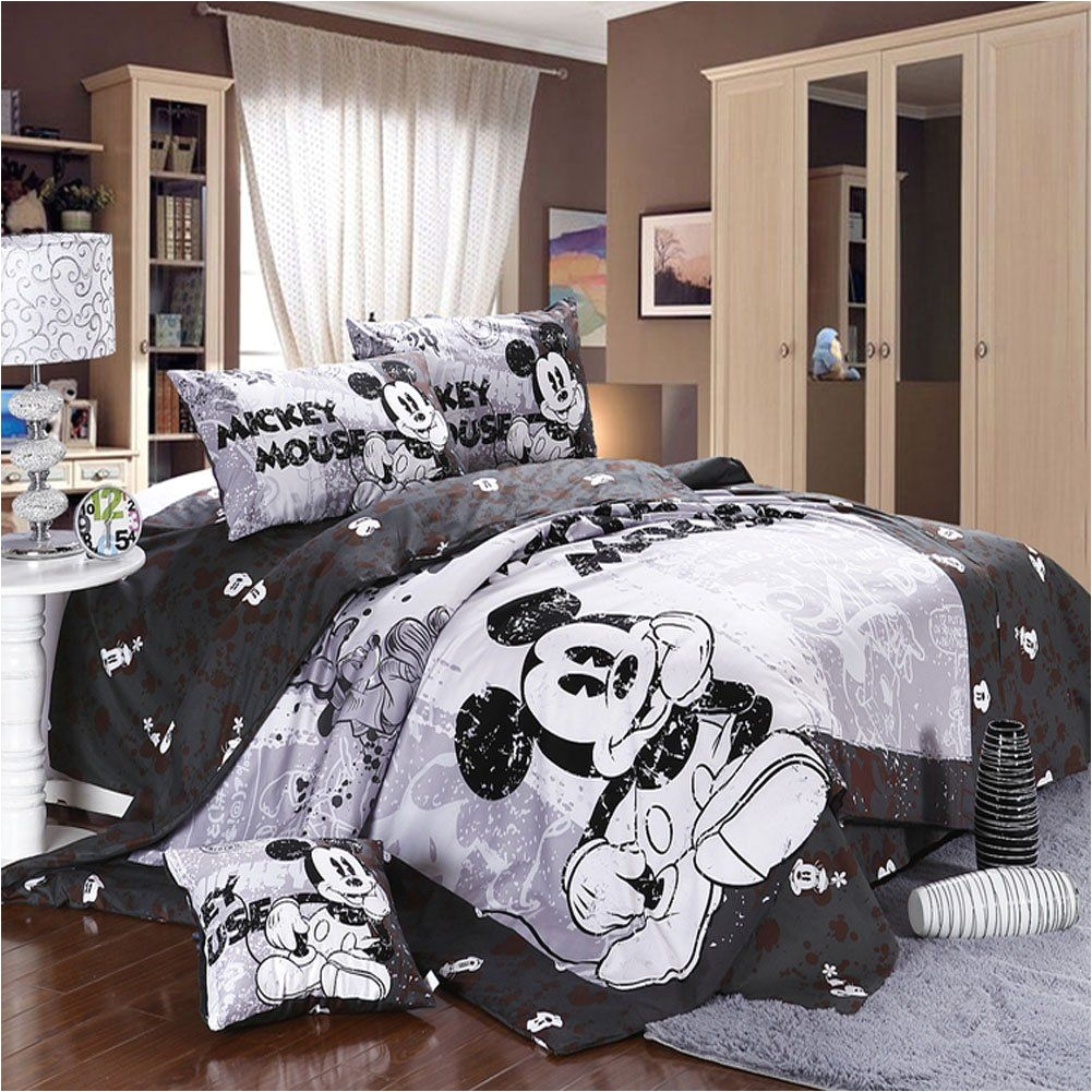 amazon com mickey minnie mouse bedding set queen king size flat sheet 100 cotton printing 1 pcs bedsheet 1 pcs duvet cover 2 pcs pillowca