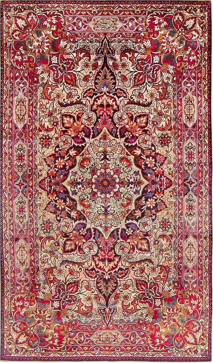 antique silk kerman rug by aboul ghasem kermani 47591