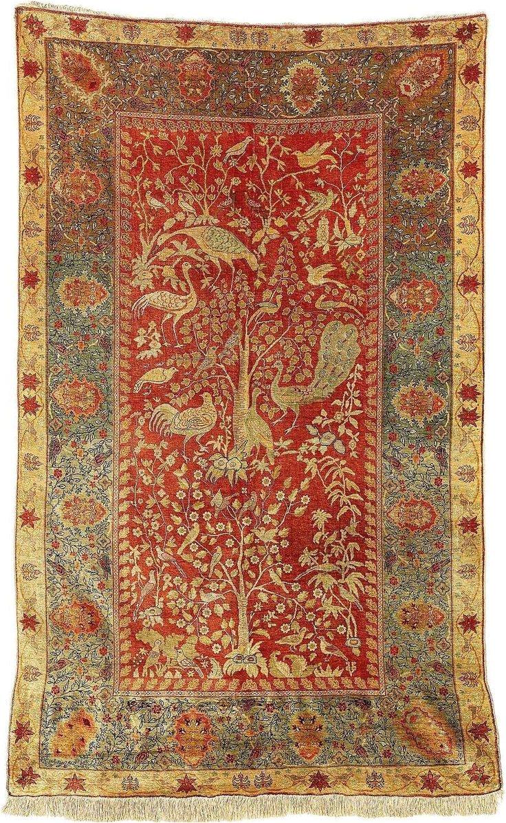 turkish rug hereke silk carpet circa 1900