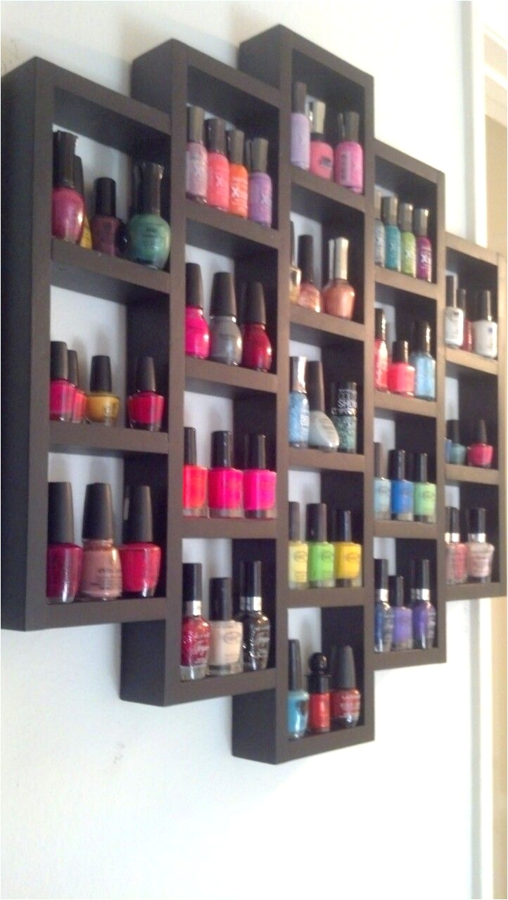 wooden nail polish rack i need something like this for all my lotions and body sprays wooden crates broken up stained 1 2 wider shelf line