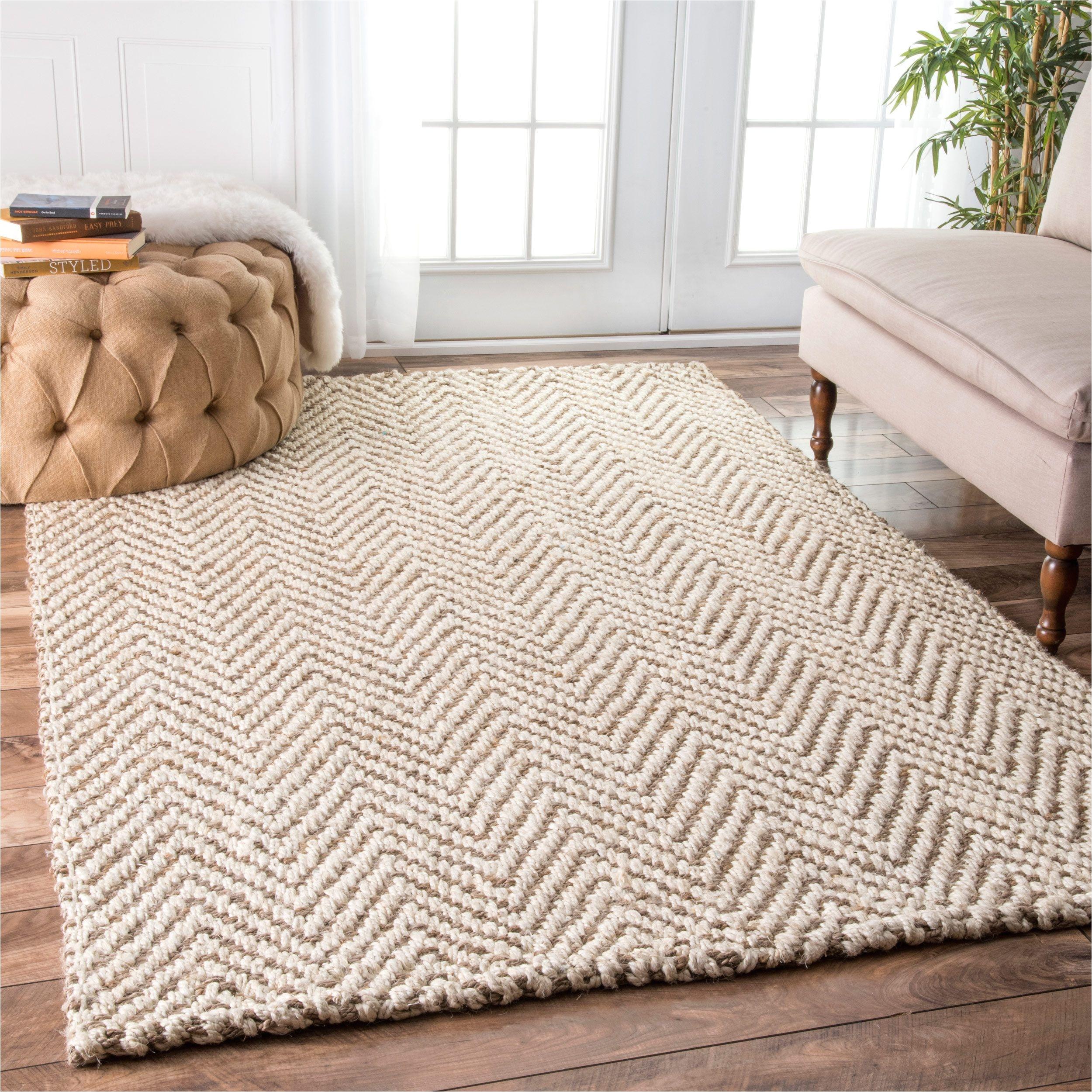 handmade nuloom eco natural fiber jute chevron ivory rug 8 6 x 11 6 ivory size 9 x 12