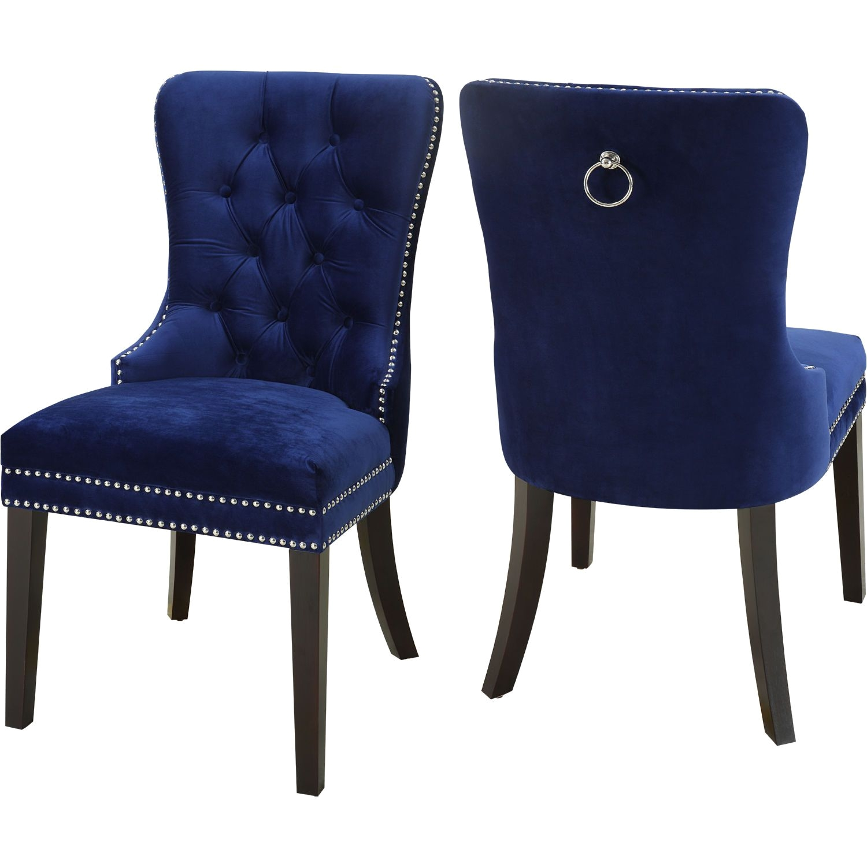 nikki dining chair in tufted navy blue velvet w nailhead trim set of 2