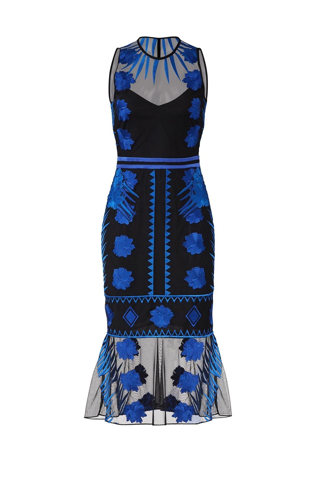 nicole miller blue mesh flutter dress