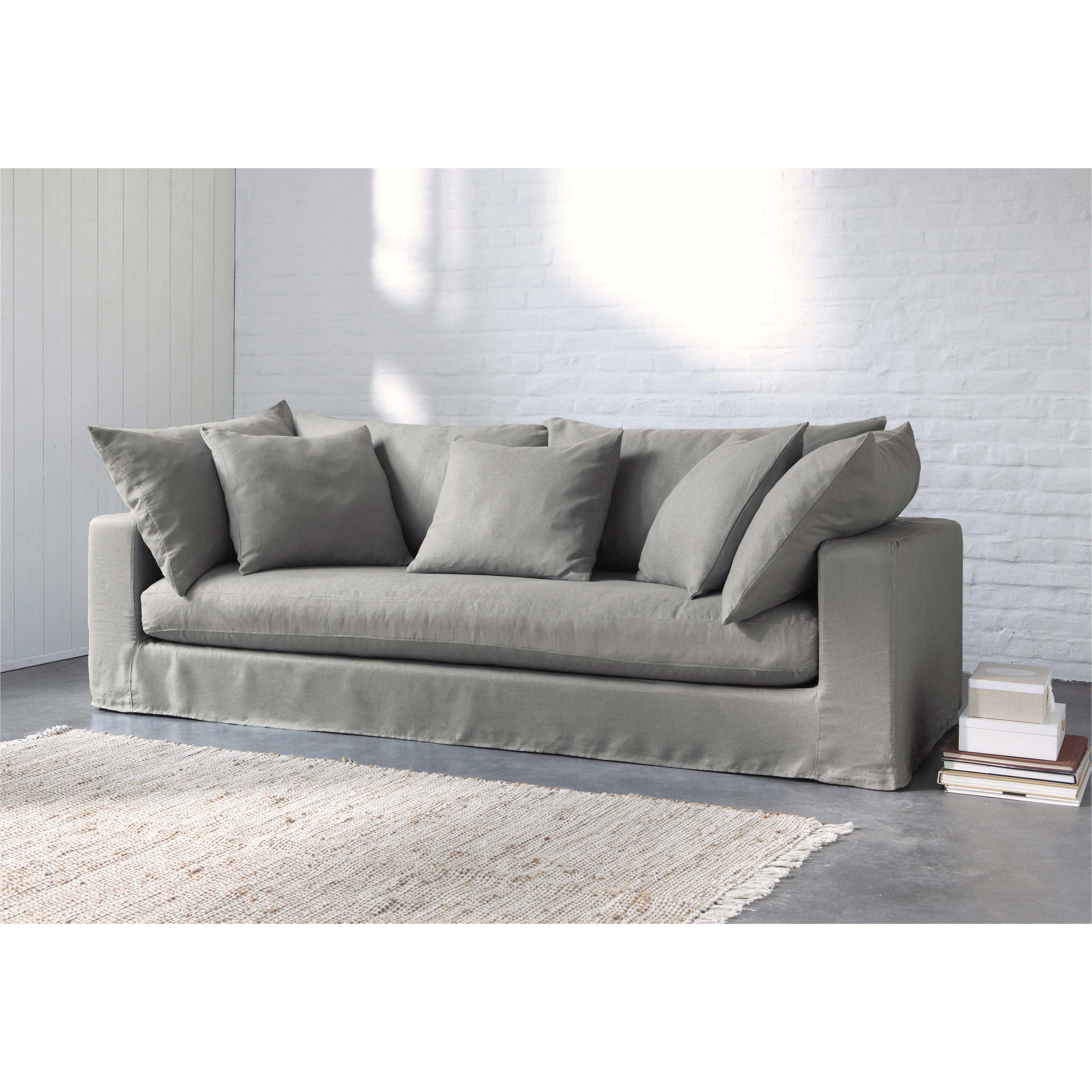 sofa 3 plazas de lino lavado gris claro gaspard maisons du monde