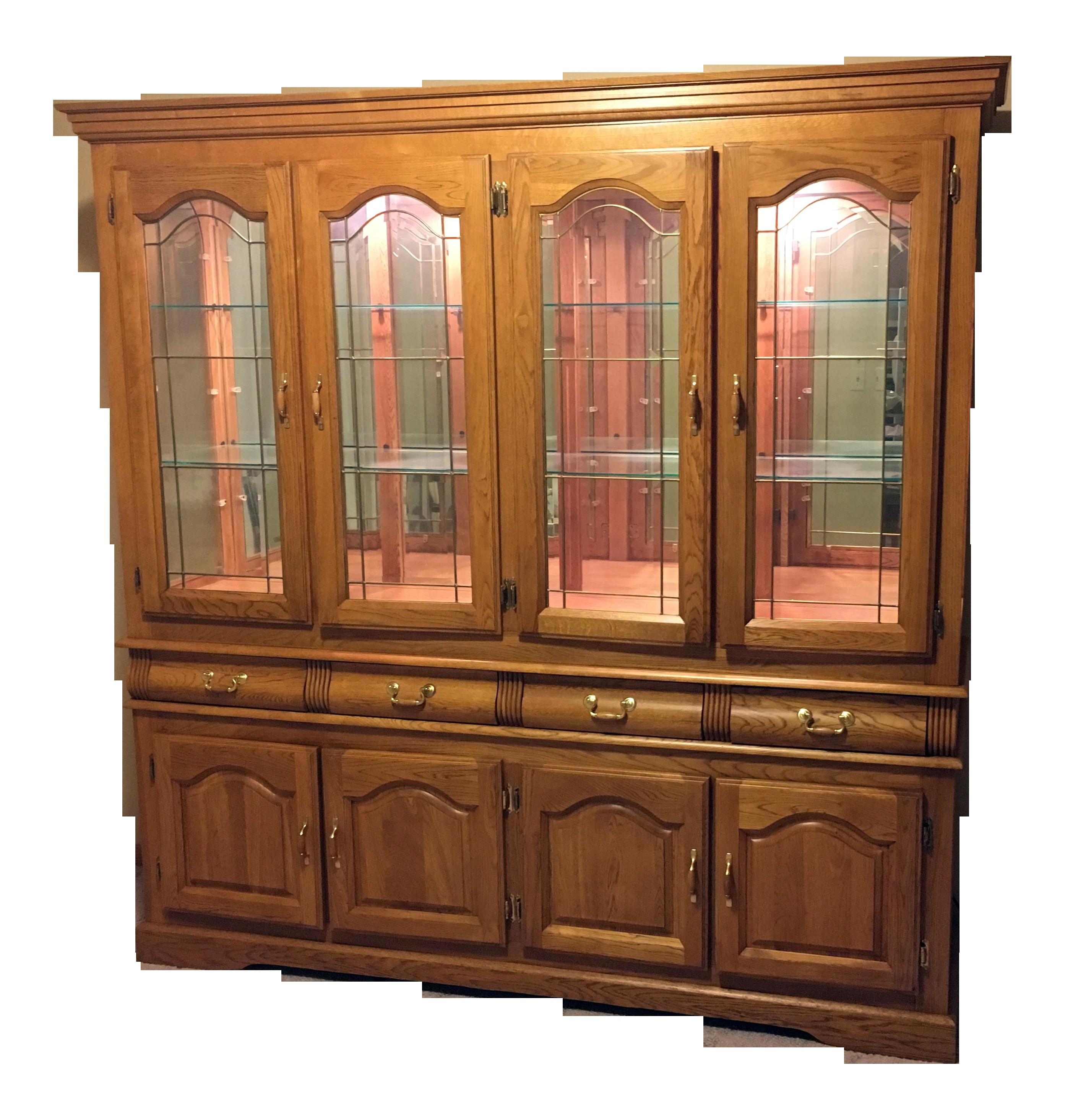 solid oak china cabinet 6087