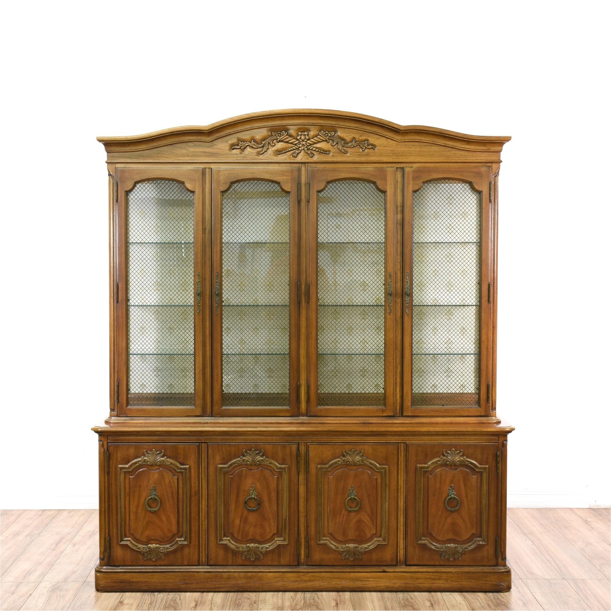 thomasville carved oak china cabinet display loveseat vintage furniture san diego