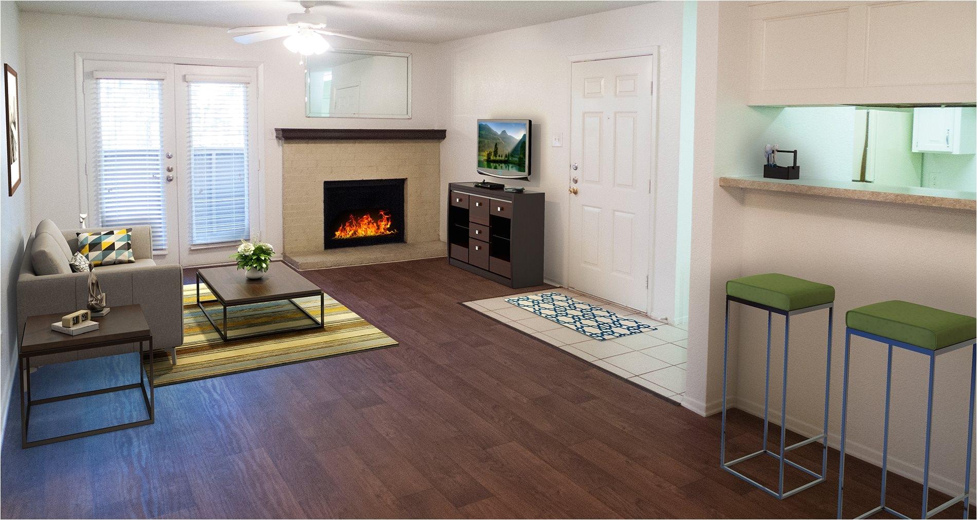 living room model background at ridgecrest apartments in denton texas tx