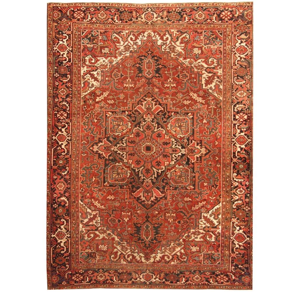 herat oriental persian hand knotted 1900s antique heriz wool rug 8 6 x