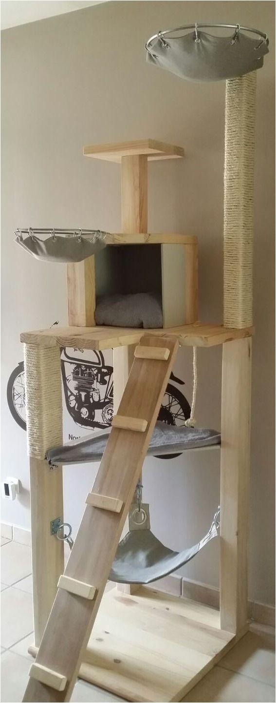 arbre a chat en bois massif de 6 etages plus