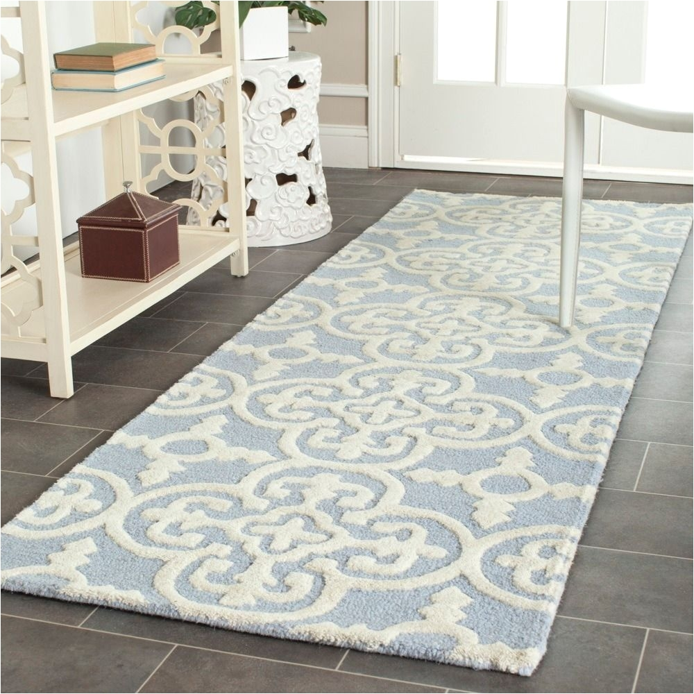 safavieh handmade moroccan cambridge light blue ivory wool low pile rug x overstocka shopping great deals on safavieh runner rugs
