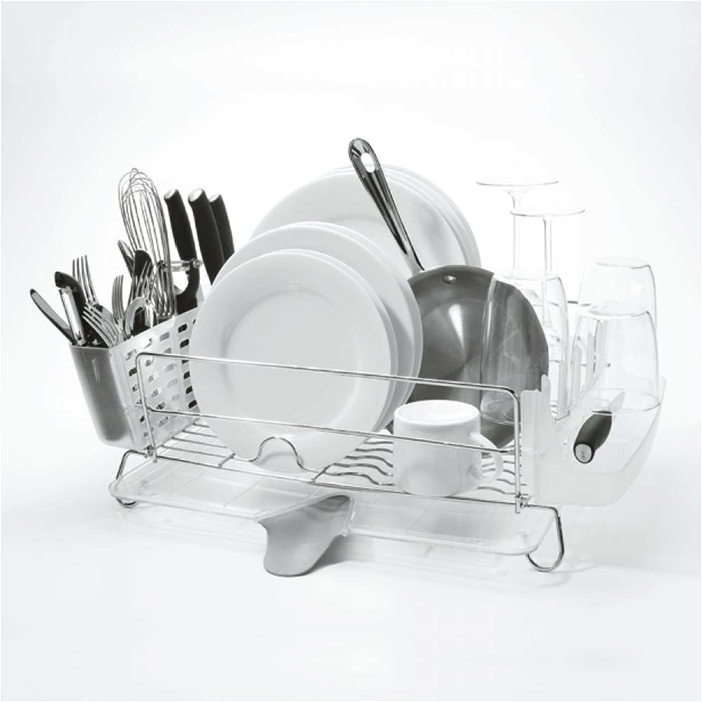 oxo good grips stainless steel dish drying rack 1069916 full of dishes 1 jpg