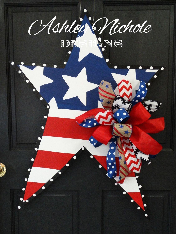 4th of july patriotic star wooden door hanger door decoration by designsashleynichole on etsy