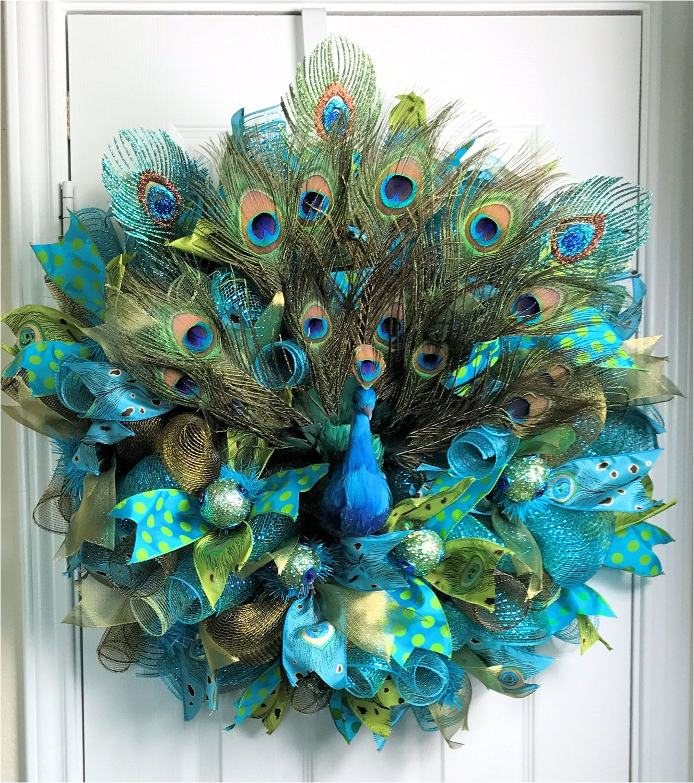 peacock deco mesh peacock wreath peacock feathers peacock ornaments peacock decor door decoration teal wreath year round wreath