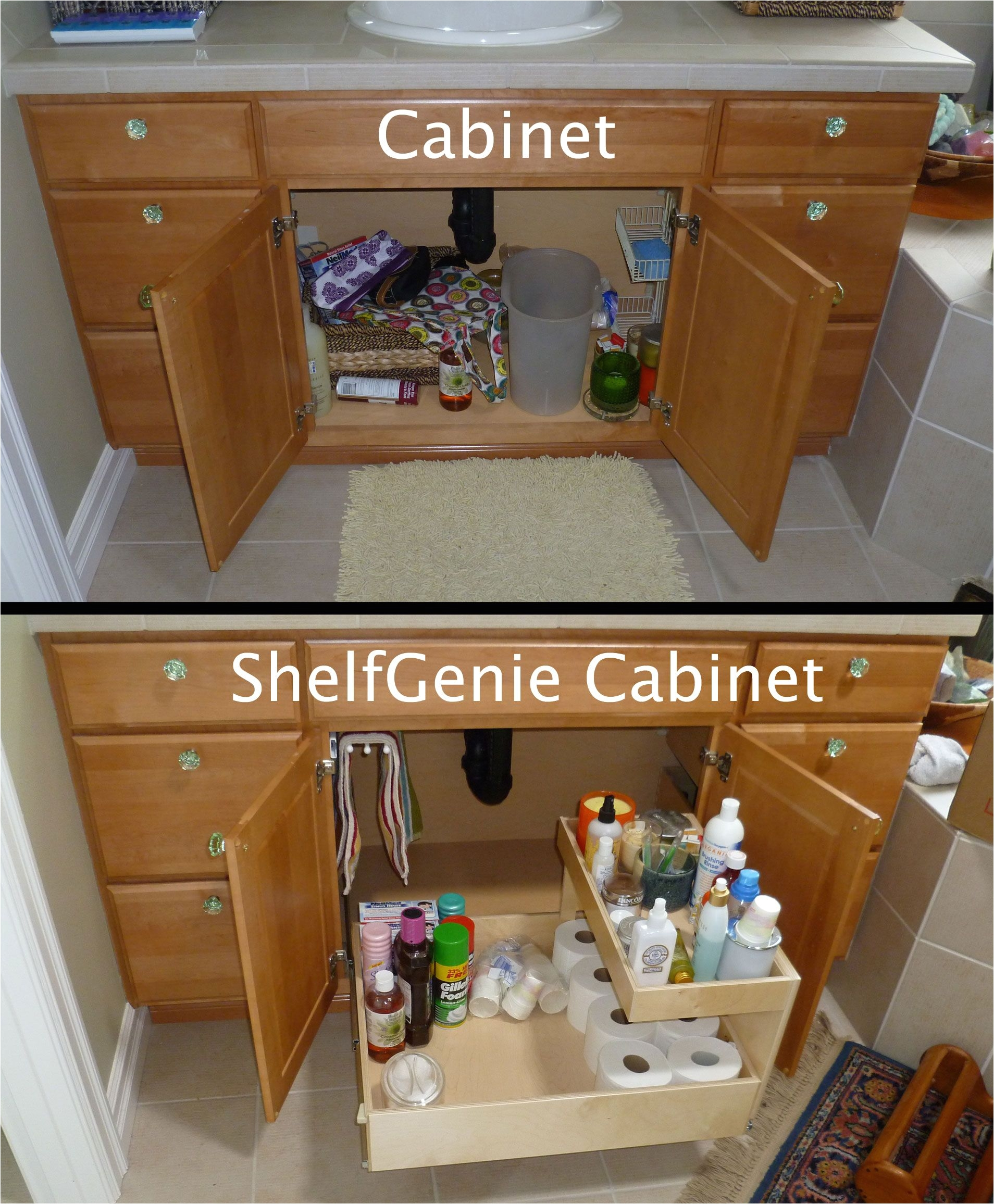 the recipe for turning this cabinet into a shelfgenie cabinet add one pull out towel bar one pull out shelf one riser shelf and enjoy