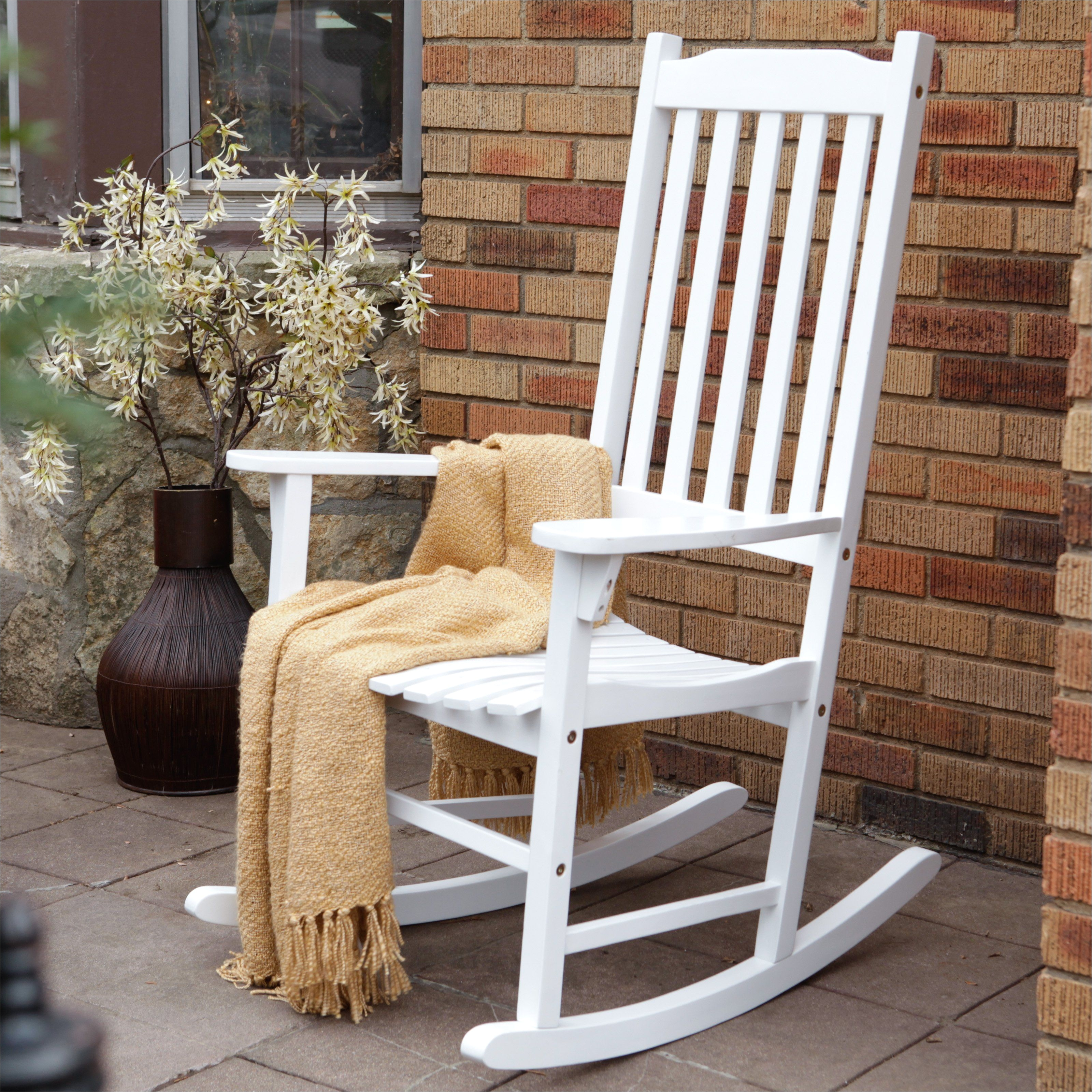 coral coast indoor outdoor mission slat rocking chair white from hayneedle com