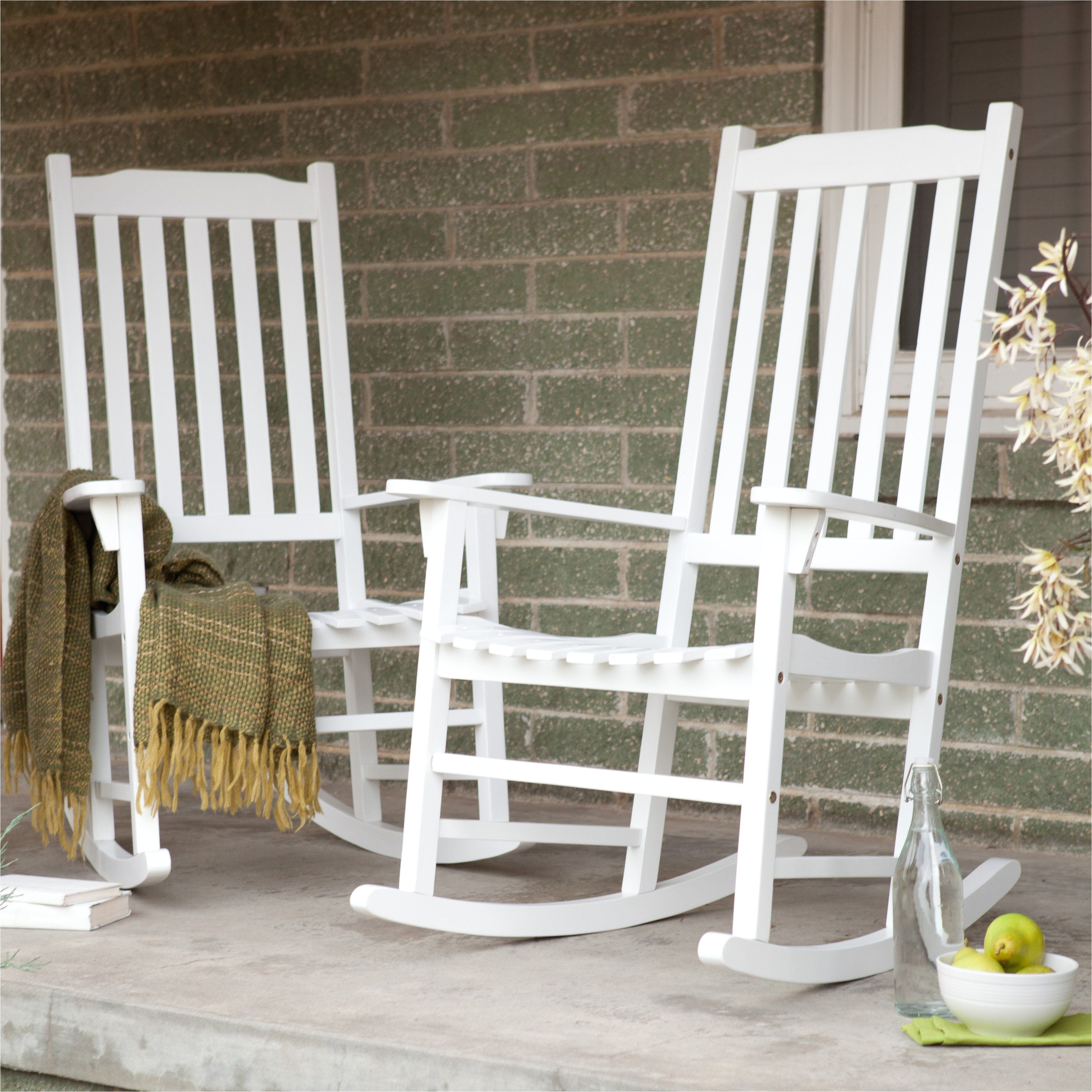 Pictures Of Rocking Chairs On Porches Coral Coast Indoor Outdoor Mission Slat Rocking Chairs White Set